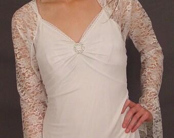 White lace bolero jacket shrug wedding bell sleeve bridal