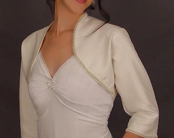 Ivory satin bolero jacket bridal shrug wedding 3/4 sleeve trimmed