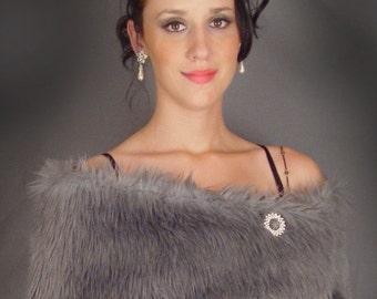 Silver gray feather faux fur shrug stole shawl bridal wedding feathery wrap