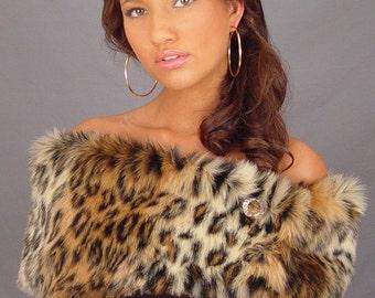 Leopard faux fur shrug stole shawl bridal wedding wrap coat animal print cover up FW401