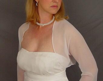 White chiffon bolero shrug bridal jacket wedding 3/4 sleeve