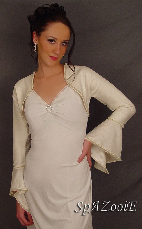 Satin bolero jacket wedding bridal shrug trimmed bell sleeve coat SBAA AVAILABLE in ivory and 2 other colors. Small through plus size!