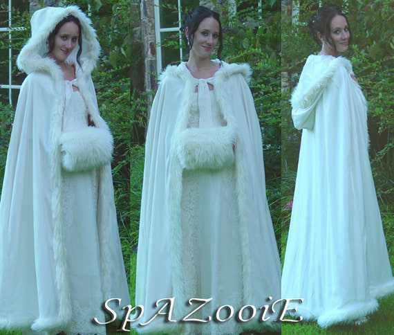 Ivory fur trim satin cloak bridal renaissance wedding full length medieval cape