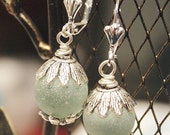 Recycled sea foam Sea glass marble with Tibetan Silver on closed back Earring hooks style
