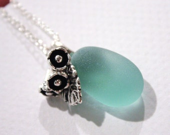 Eco friendly Flawless sea foam Beach Sea glass with Tibetan silver flower and leaf on a Silver plated Necklace