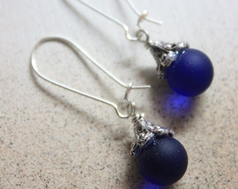 Go Green Cobalt Blue Sea glass marble with Tibetan Silver with .925 Sterling Silver Plated Kidney Earring hooks style