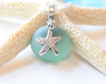 Bridesmaids jewelry idea Sea Glass Light Green Sea glass with Tibetian silver starfish on a .925 Sterling Silver plated Necklace
