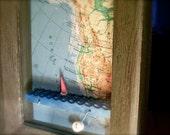 sailboat automaton in wood map shadowbox