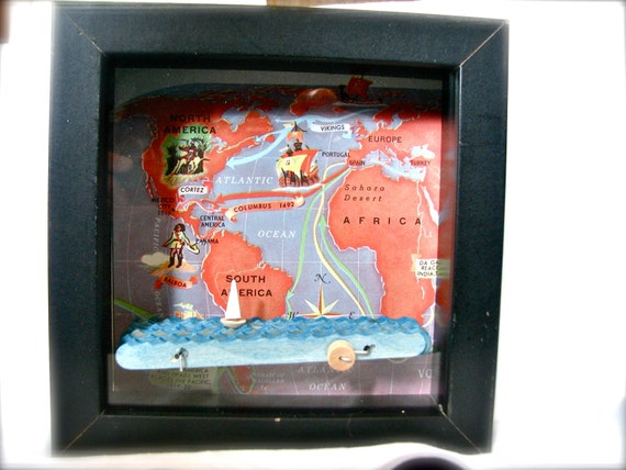 sailboat automaton in sea voyage shadowbox