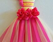 Pink Lemonade Mini Tutu Hair Bow Holder