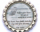 Bottle Cap Pendant Whale's Tail and Follow Your Heart Poem with Rubber Cord Necklace