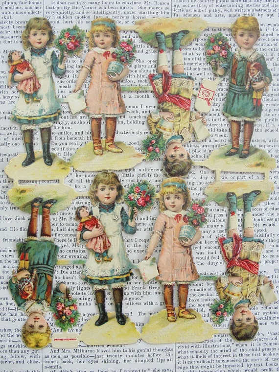 Vintage German Scrap Picture-Die Cut of Children Holding Flowers and Toys