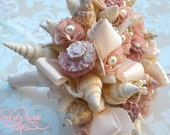 Beach Bouquet (Serene Hope and Joy Bows Style) SeaShell Bridal Bouquet and Boutonnierre. Made to Order Custom Details.