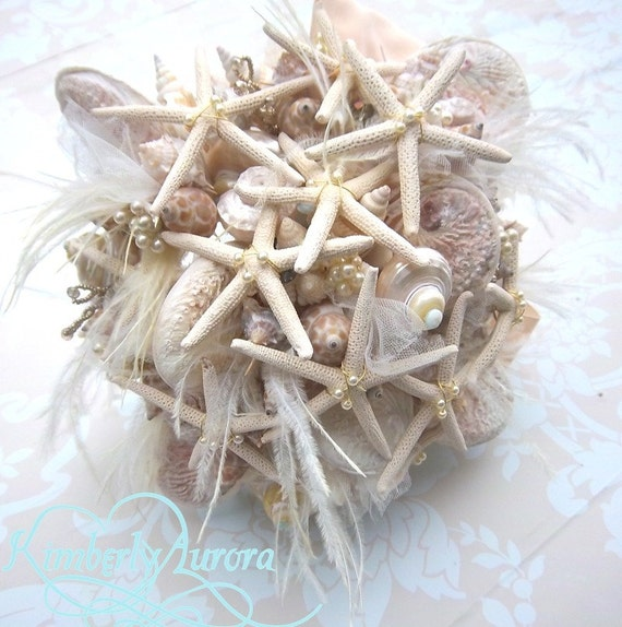 Beach Wedding Wistful La Digue Seashell and Starfish Bridal Bouquet and Boutonnierre In Stock - Ready to Ship