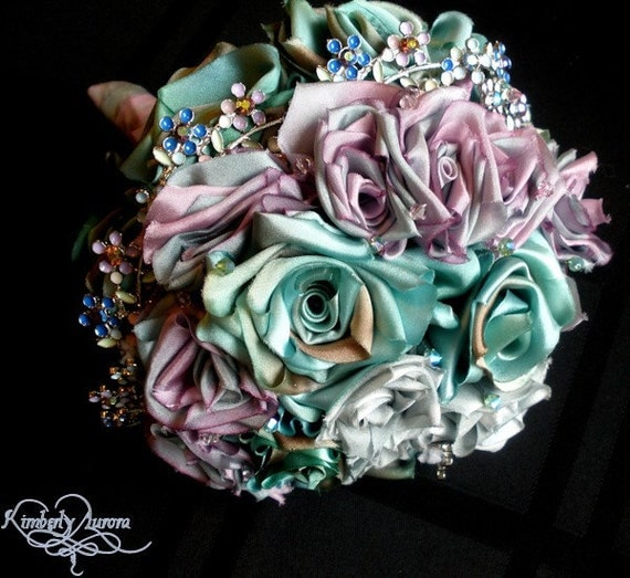 CLEARANCE Glimmering Fable Jewelry and Silk Bridal Bouquet IN STOCK