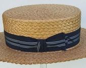 """22 3/4"""" - Vintage Mens CHAMP Summer Straw Boater Hat"""