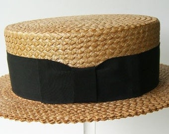 "22 1/2"" - Vintage Kaiser Summer Straw Mens Boater Hat"