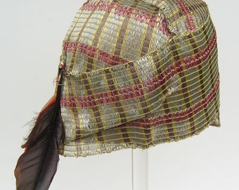 """21 1/2"""" - Vintage 1920s Straw with Feather Flapper Woman's Cloche Hat"""