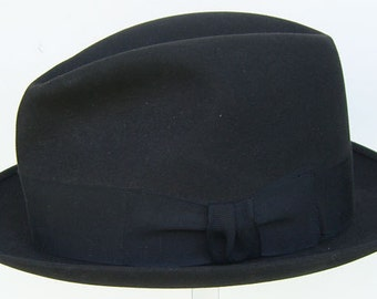 "23"" - Large Vintage Charcoal Gray/Black Lord Kent Custom Made Men's Fedora Hat"