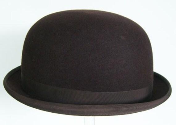 7 1/2 - Vintage Deco Felt English Tress Co. London Mens Brown Derby