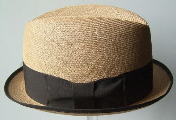 7 3/8 - Vintage 1960s Large Mens Summer Straw Hat