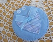 Blue Buttons and Bow Hand Embroidered Needle Case