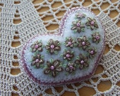 Pretty Pink Hand Embroidered Heart Brooch
