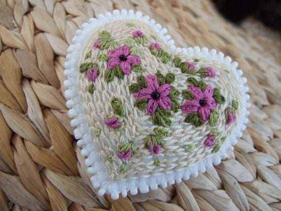 White Felt Heart Pin with Pink Flowers and Buds