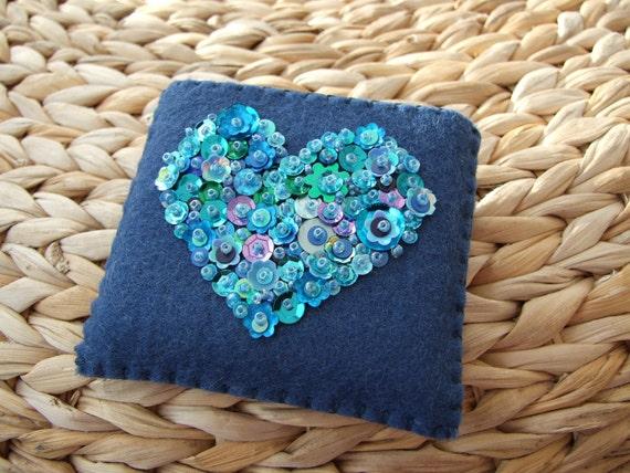 Blue Case for a Handbag /Purse Mirror