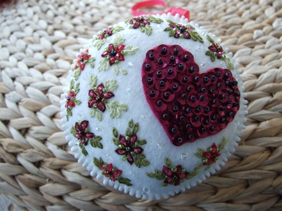 Hand Embroidered Hanging Ornament