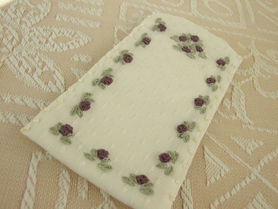 Glasses Case Hand Embroidered with Mauve Flowers
