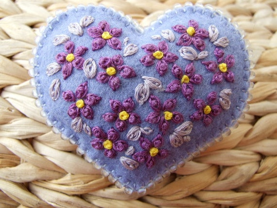 Lavender Felt Hand Embroidered Brooch with Purple Flowers
