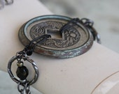 Dragon Coin - replica dragon coin antique pocket watch bezel gunmetal findings glass crystal bracelet and earring set