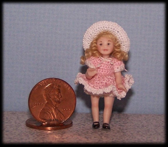 Porcelain Dollhouse Doll 1 2 Inch Scale Toddler Girl 1 3 4