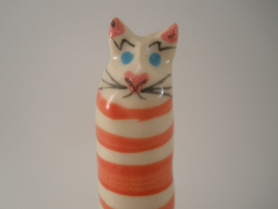 Red and White Striped Cat, Hand Made Porcelain Cat, clay cat, pottery cat