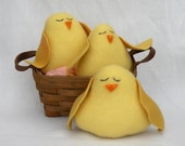 Primitive Spring Chicks Primitive Chicks Yellow Up-Cycled Cashmere set of 3 OFG Team