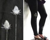 LAST ONE Black cotton  fleece Leggings with Flowers Print
