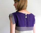 Light gray, Indigo and Violet gray Geometric Vintage inspired Silk Dress