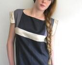 Black, Taupe Gray and Cream Geometric Vintage inspired Silk Dress