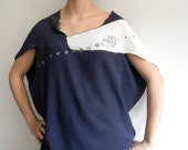 Blue and white washed silk asymmetric shirt, handprinted.