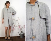 Limited Edition- Trench coat in gray linen 1960s inspired, fully lined, sizes from xs to xl, made to order