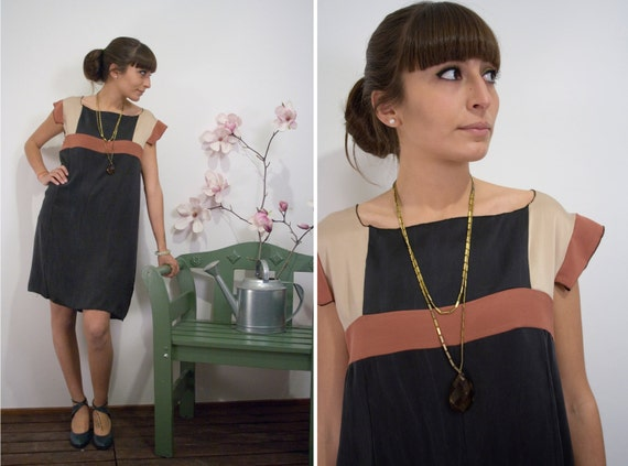 Black, rust and vanilla Geometric Vintage inspired Silk Dress