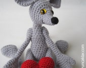 Crocheted and Jointed Grey Mouse