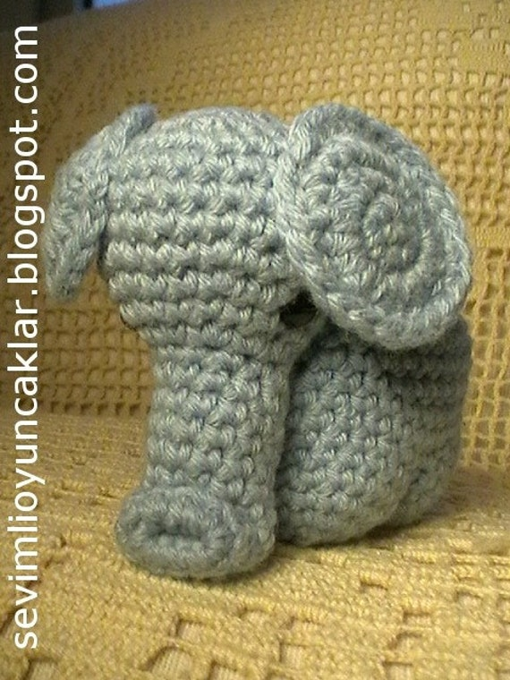 Crocheted Blue Elephant