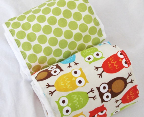 Burp Cloths Set for boy or girl owls in red yellow blue