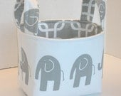 Ele, the Elephant, White and Gray Fabric Basket with Choice of Lining