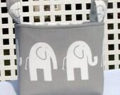 Large Grey Ele the Elephant Fabric Basket with Choice of Lining