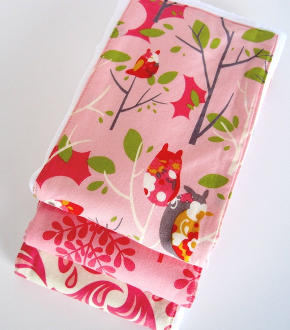 It's a Hoot Pink Owl Premium 6-Ply Burp Trio