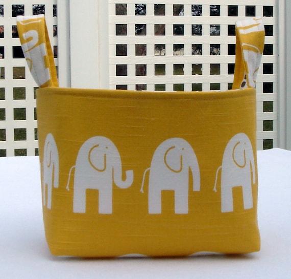 Large Yellow Ele the Elephant Fabric Organizer Basket
