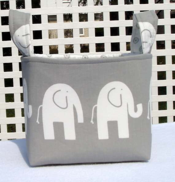 Gray Ele Elephant  Fabric Organizer Basket With Chelsea Lining